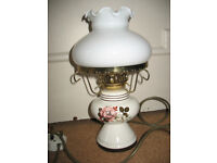 Electric ceramic table lamp, Rose decoration, oil lamp style, white glass shade, vintage