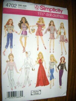 Barbie Doll Jeans Pants Jackets HalterTops New Simplicity 4702 Pattern