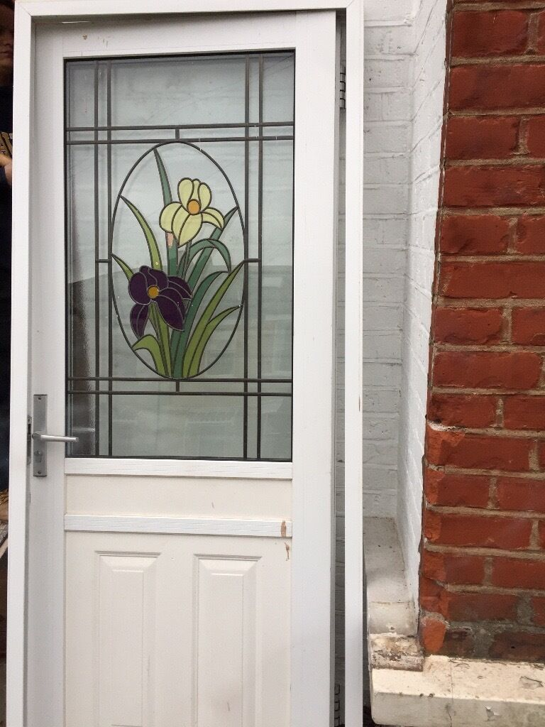 Upvc Stained Glass Front Door With Frame And Lock In Blackheath
