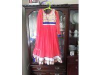 Pinkey Orange Girl's 3-Piece Anarkali Dress, Size 28