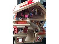 Pintoy dolls house with lots of furniture and dolls