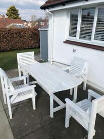 White painted wooden garden furniture