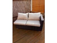 Rattan Garden Large Extension Sofa With 1 Arm & Soft Cushions New Other