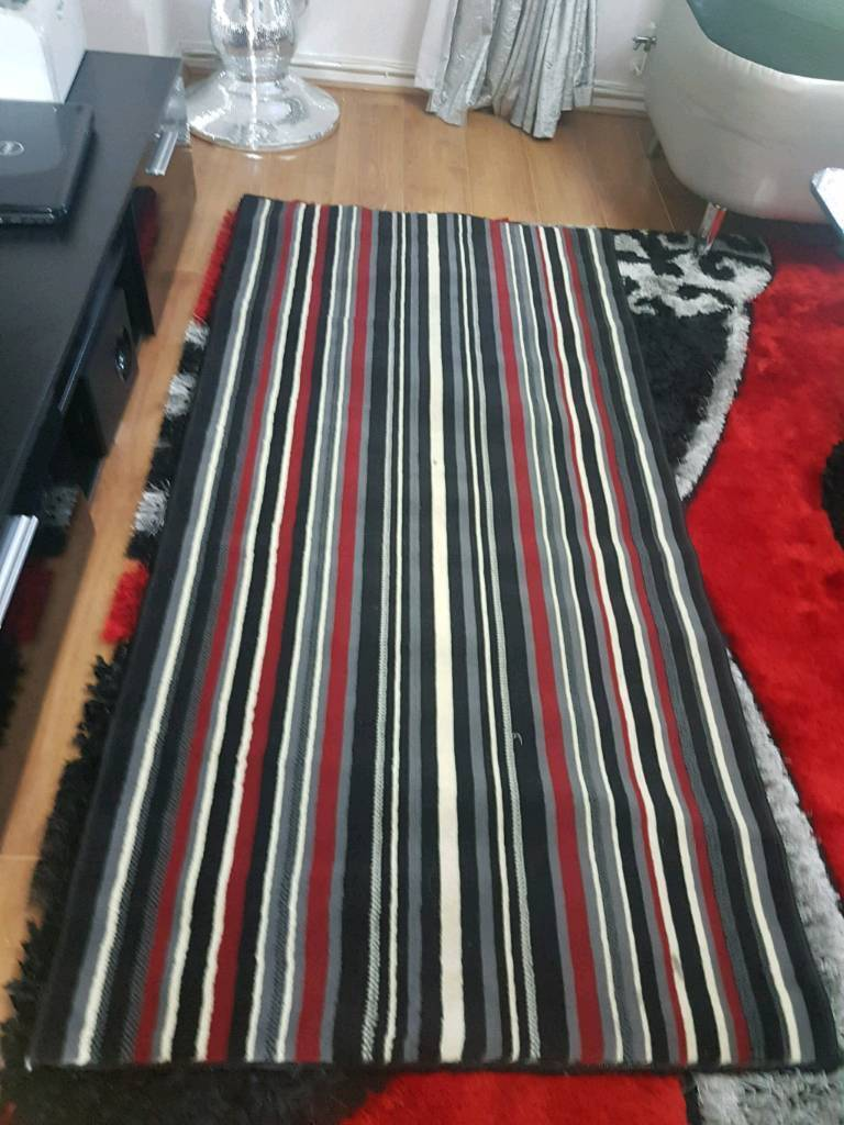 Almost New Black Red White Striped Runner Rug In Glasgow Gumtree