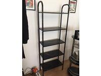 5 level black wood & metal shelf unit