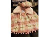 Baby girl designer cape with matching hat 9-12 months