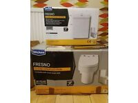 TOILET + CISTERN. £60. WICKES FRESNO. CLOSE COUPLED PAN AND CISTERN.