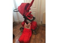 FURTHER REDUCED - Red Stokke Xplory Bundle (seat & carry cot) - Great Condition