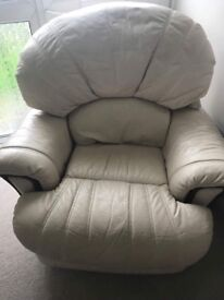 Cream leather reclining armchair with wooden finish