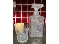 Lead Crystal decanter an two whisky glasses