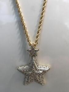 10kt Yellow Gold 0.35ct Diamond Star Pendant Set With 24 inch 2.5mm Rope chain