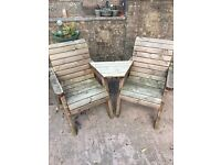 2 matching solid wood garden chairs