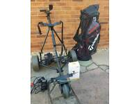 POWAKADDY ELECTRIC GOLF TROLLEY,BATTERY,CHARGER,GPS HOLDER,TAYLORMADE GOLF BAG