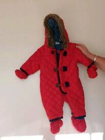 Red snow suit 3-6 months
