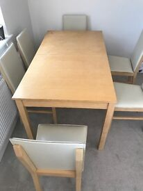 Dinning table with six leather chairs