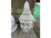 Buddha head concrete garden ornament