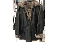 Designer Leather Coat size 14