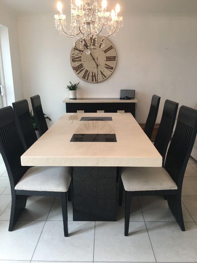 Housing Units Marble Dining Table With Six Chairs And Matching Sideboard