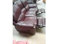 3-1-1 Leather reclining suite for sale.