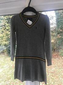 Girls Ralph Lauren size 5 grey wool dress new with tags