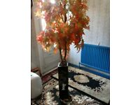 artificial orange Acer tree with mother of pearl planter forsale