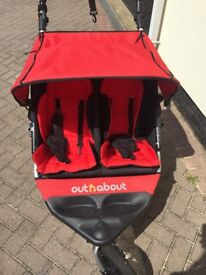Out n About Nipper V3 Red Double pushchair