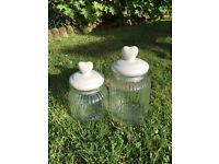 Set of two lovely heart topped glass storage jars