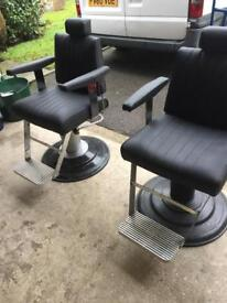Two Belmont Dainty barber chairs