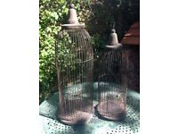 2 Antique French style Metal Wooden Bird Cages