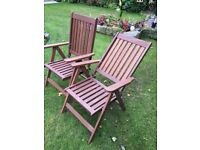 Two folding wooden Garden/Conservatory Chairs