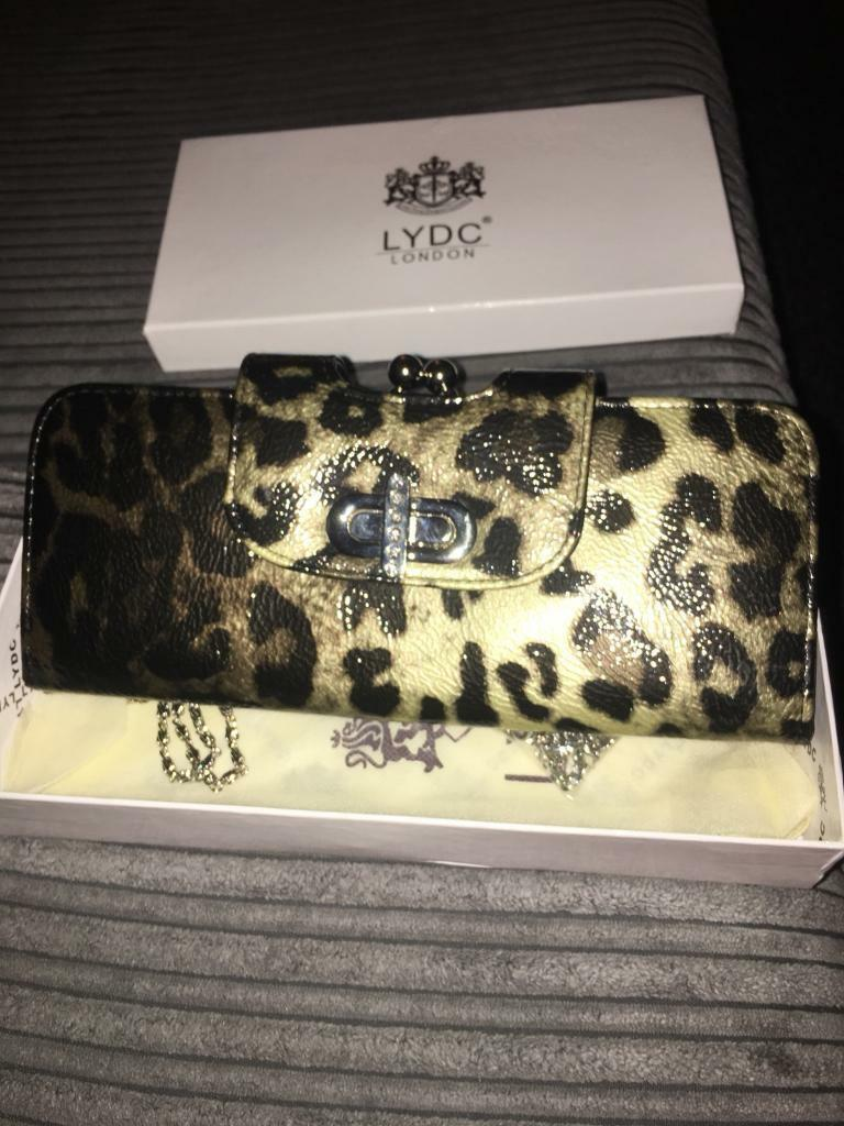 New leopard print purse/ clutch with box