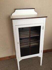 Edwardian antique white display cabinet