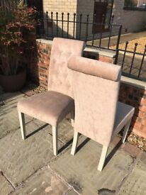 6 Months Old, 4 x Cream High Back Dining Room Chairs - never used - will deliver locally