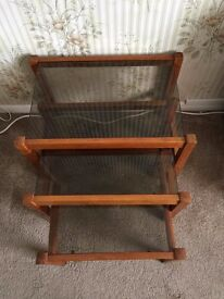 Set three glass top nesting tables