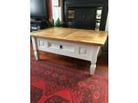 Pine coffee table - sanded & waxed top and Annie Sloan painted legs