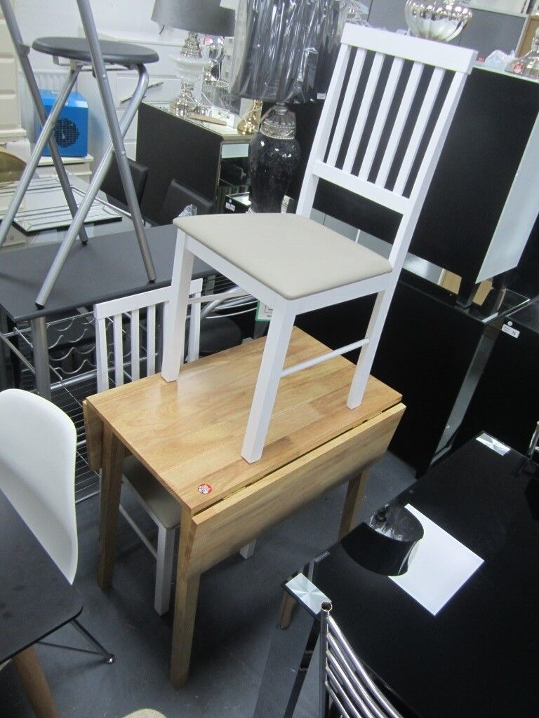 Kendal Drop Leaf Two Tone Dining Table With 2 Chairs