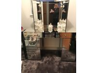 Mirrored dressing table with matching mirrors and stool