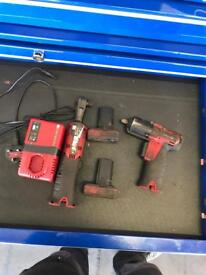 Snap-on 14v cordless battery 3/8 gun and ratchet