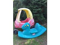 Little tikes cozy coupe car and blue rocker