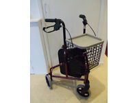 Tri walker in burgundy - Three wheeled mobility rollator