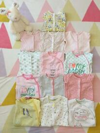 💕 Next Bundle of girls 'first size' baby-grows, vests and clothes 💕