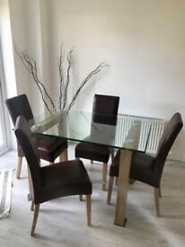 Glass Dinning table x 4 Leather Chair