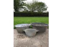 Galvanised wash tubs set of three