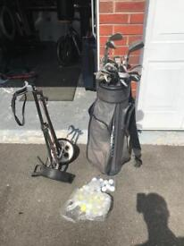 Assorted Golf Clubs, Balls and Bag