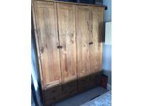 Stained Scandinavia 4 Door 6 Drawer Wardrobe - Pine