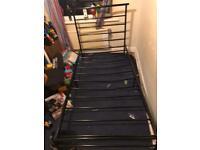 Black single metal framed bed 15.00