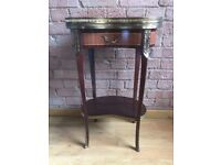 Antique / Vintage French Bedside / Side Table with Brass & Marble