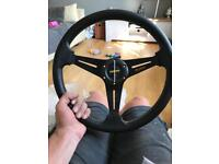 Momo Rep steering wheel carbon wropped with hub