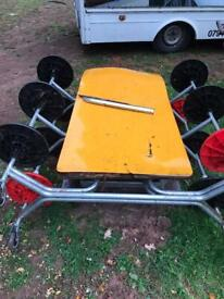 12 seater table portable folds flat wheeled