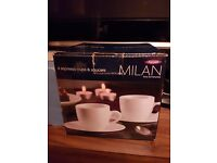 Milan Set Of Four Espresso Cup & Saucers 8pc Set NEW AND BOXED